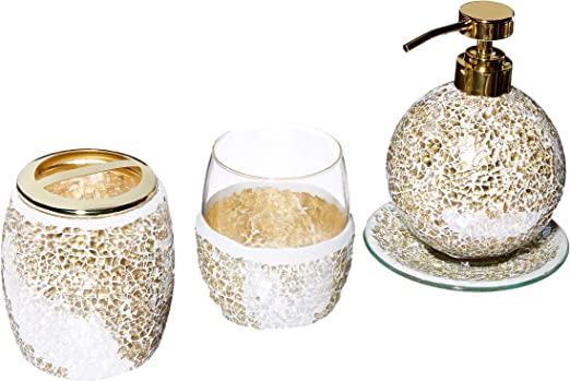 Amazon Com Mosaic Bathroom Accessories Set 4 Piece Bath Accessory Sets With Gold Soap Dispenser Toothbrush Holder Tumbler And Ring Tray Home Kitchen