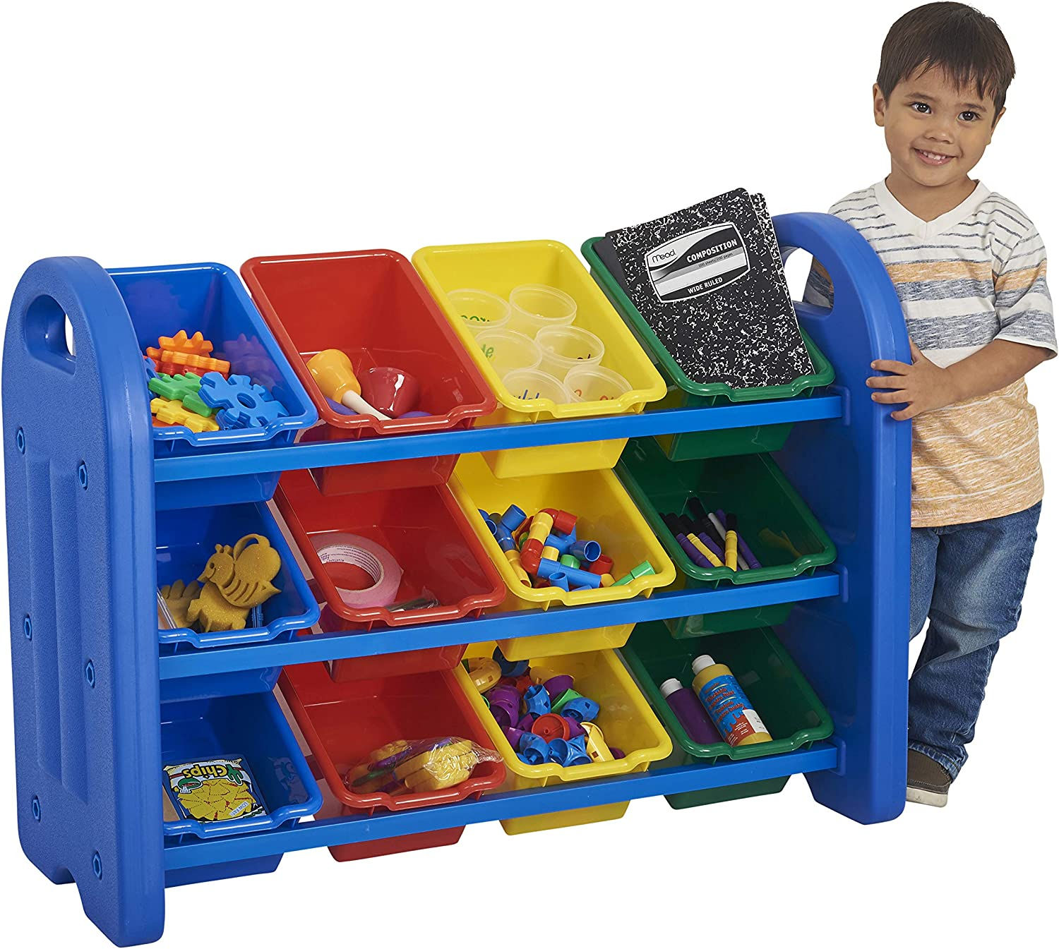 Amazon Com Ecr4kids 3 Tier Toy Storage Organizer With Bins Blue With 12 Assorted Color Bins Greenguard Gold Certified Toy Organizer And Storage For Kids Toys Kids Toy Storage Elr 0216 Industrial Scientific