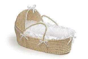 Badger Basket Moses Basket with Hood and Bedding, Natural/White