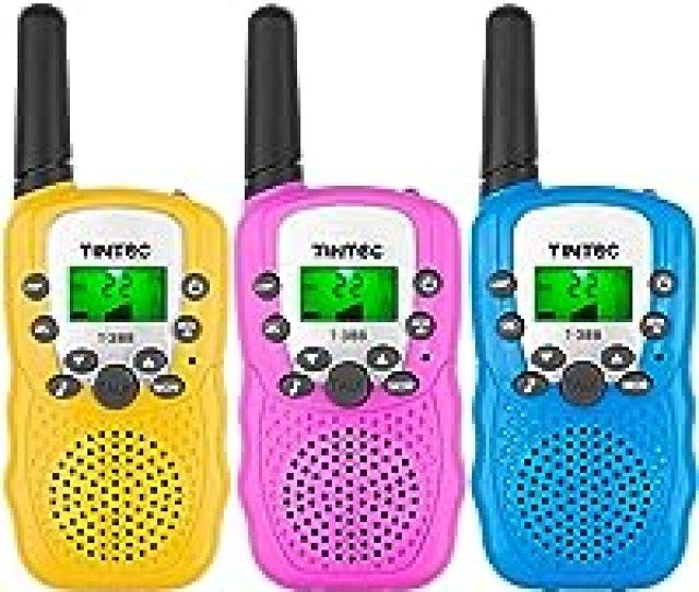 Tintec 3 Pack Walkie Talkies  Way Radio Toy With Backlit Lcd Flashlight