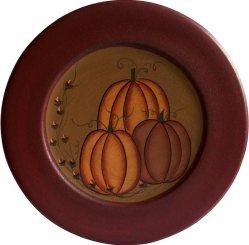 Primitive Antique Pumpkin Painted Wood Decorative Plate