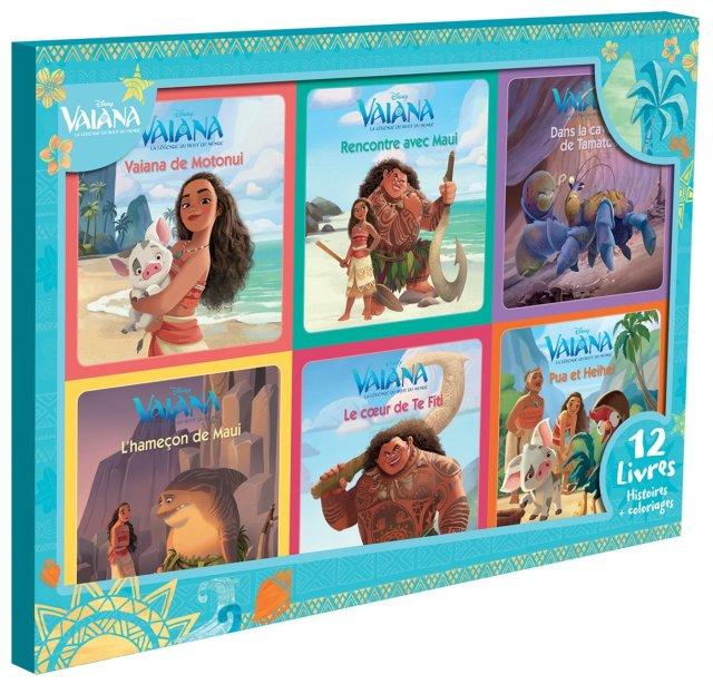 VAIANA - Coffret 19 Livres - 19 Histoires + 19 Coloriages - Disney