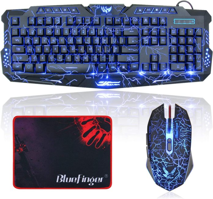 Amazon Com Bluefinger Gaming Keyboard And Mouse Usb Wired Backlit Gaming Mouse And Keyboard Combo Letters Glow 3 Color Crack Backlit Illumination Keyboard And Mouse Set For Game And Work Computers Accessories
