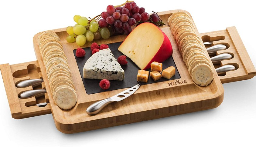 Mitbak Cheese Board Tray with 12 Cheese Utensils | Bamboo Charcuterie Board Serving Tray | Cutting Board Platter Great Gift For Mother's Day, Anniversary, Bridal Shower, Wedding | 16 x 13 x 2 Inches
