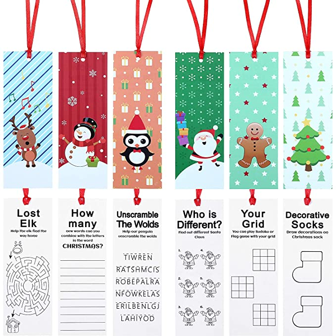 60 Pieces Christmas Holiday Bookmarks Christmas Character Bookmarks with Santa Snowman Reindeer Christmas Tree Design for Xmas Gifts Party Favors