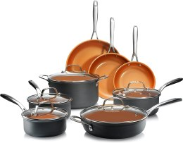 Gotham Steel Hard Anodized Pots and Pans 13 Piece Premium Cookware Set with Ultimate Nonstick Ceramic & Titanium Coating, Oven and Dishwasher Safe