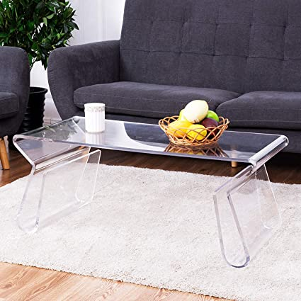 Amazon Com Tangkula Acrylic Coffee Table 38 Inch Clear Modern Accent Glam With Integrated Magazine Rack End Table Tea Table Kitchen Dining