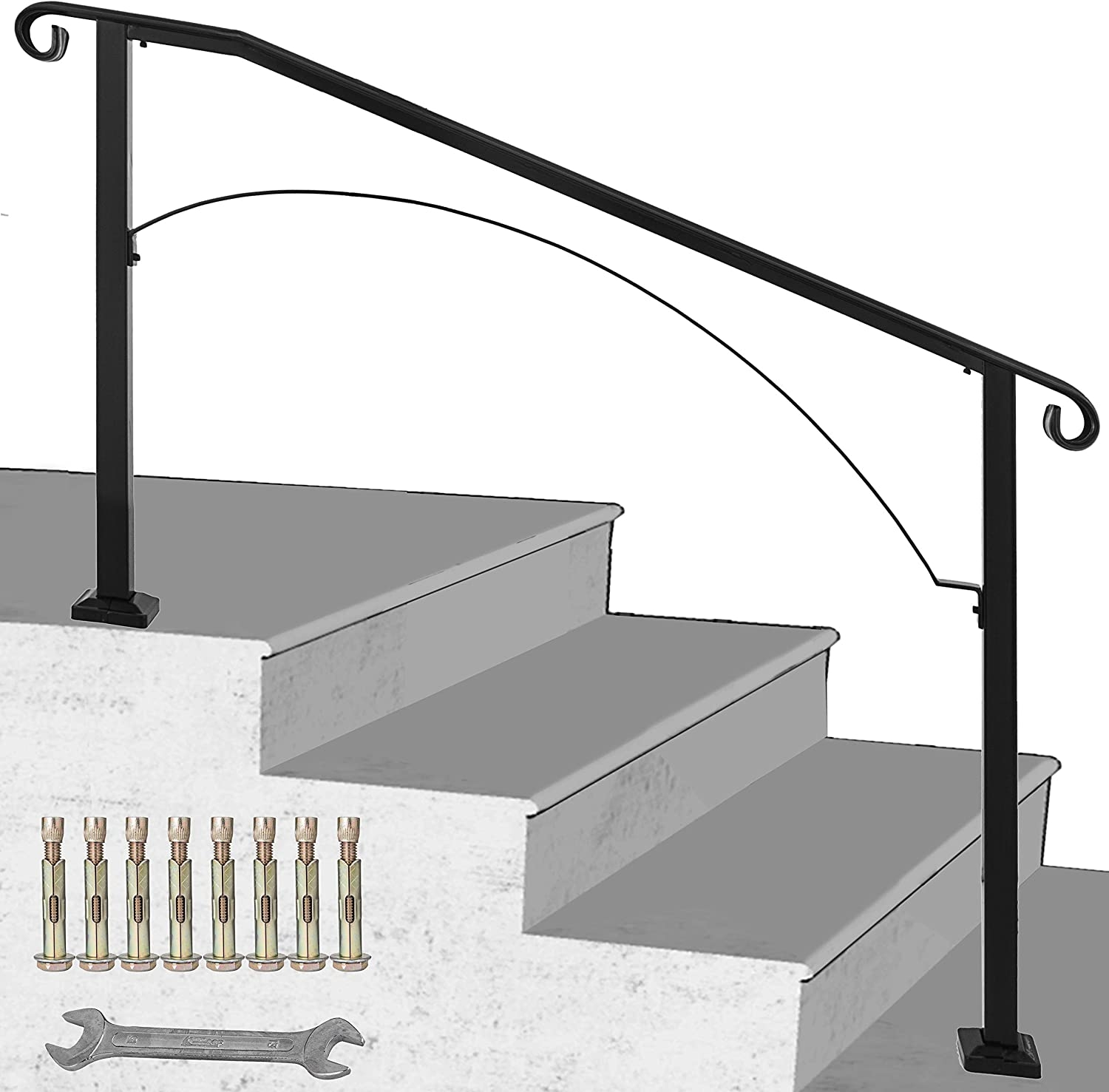Happybuy Handrail Arch 3 Fits 3 Or 4 Steps Matte Black Stair Rail   Iron Handrails For Outdoor Steps   Antique   Deck   Front Door   Entrance   Ornamental