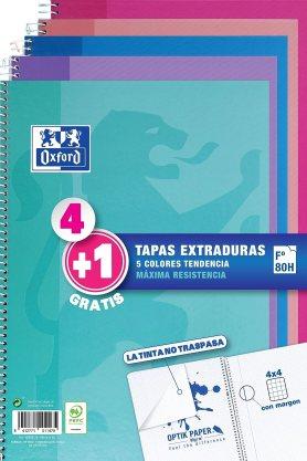 Oxford - Pack de 5 cuadernos (tapa extradura, 80 hojas, cuadrícula 4x4 con margen)