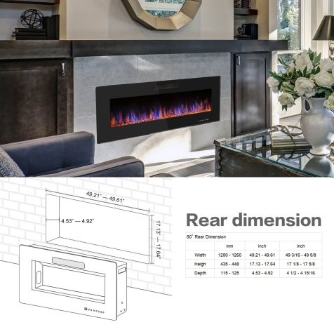 """R.W.FLAME 50"""" Recessed Electric Fireplace, Wall Mounted Black Friday Deals"""