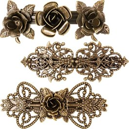 3 Pieces Women Hair Clips Hairpins Retro Vintage Metal French Barrette Jewelry (Style B)