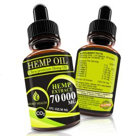 Hemp Oil Drops 70 000 mg, Co2 Extracted, Help Cope With Stress, Anxiety and Pain, 100% Natural Ingredients, Vegan Friendly, GMO Free, Made in USA