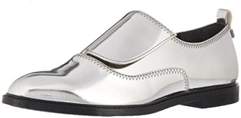Calvin Klein Women's Dayo Metallic Oxford Flat, Grey, 8 Medium US
