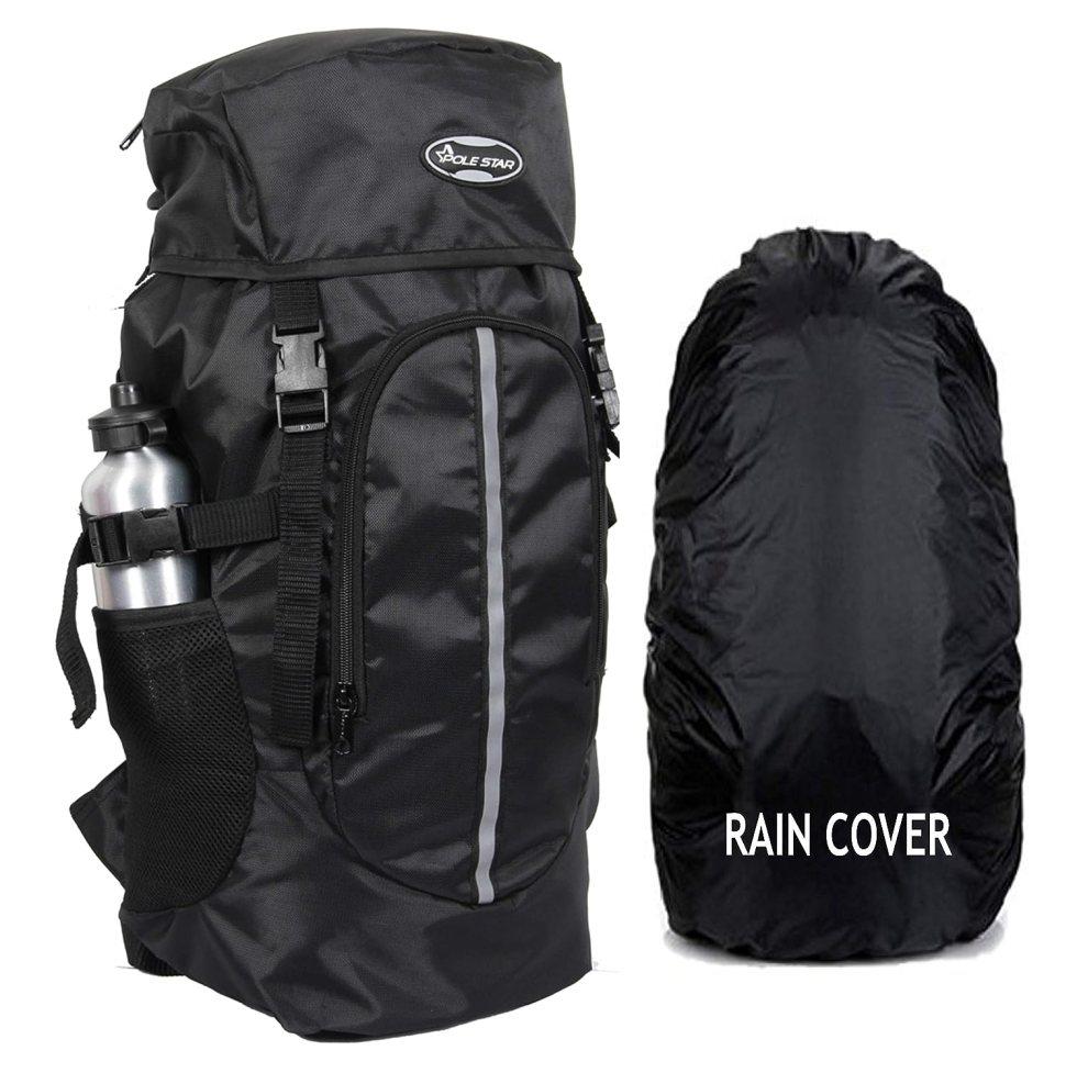 Hike BLK Rucksack with RAIN Cover/Trekking/Hiking BAGPACK/Backpack Bag under Polestar Travel Bag