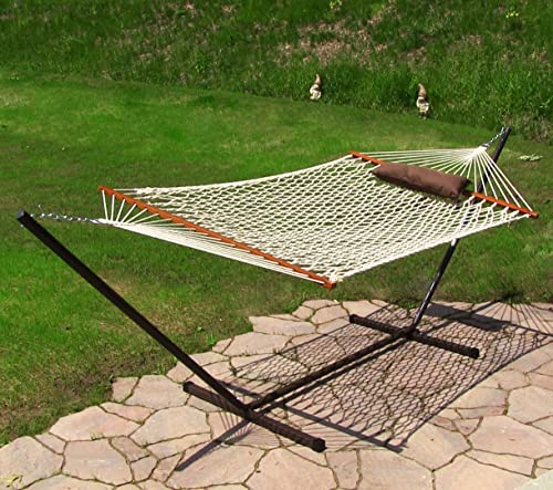 Sunnydaze Desert Stripe Rope Hammock Combo with Stand