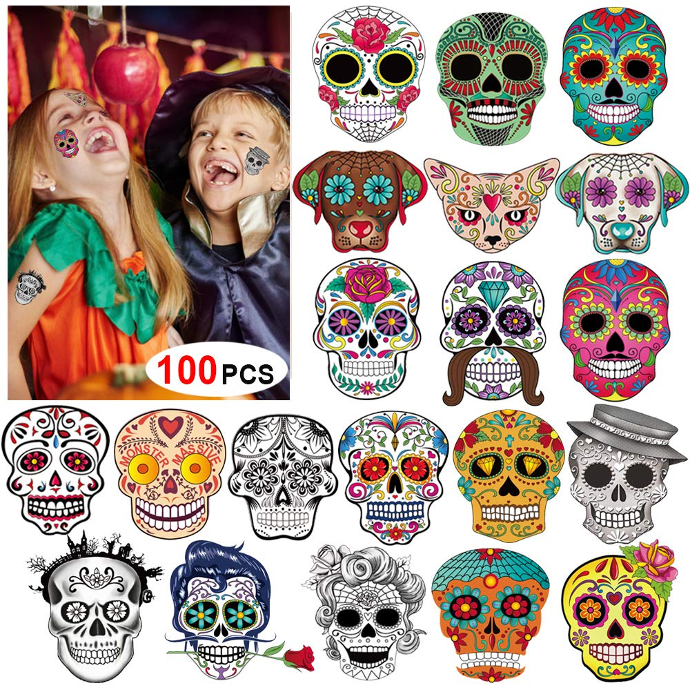 Amazon Com Day Of The Dead Sugar Skull Tattoos 100counts Konsait Halloween Temporary Face Tattoos Sugar Skull Puppy Black Skeleton Web Red Roses Tattoo For Kids Boys Girls Mexican Halloween Party Favor Supplies