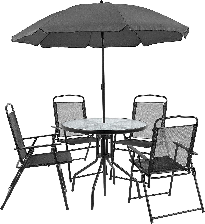 Amazon Com Flash Furniture Nantucket 6 Piece Black Patio Garden Set With Table Umbrella And 4 Folding Chairs Furniture Decor