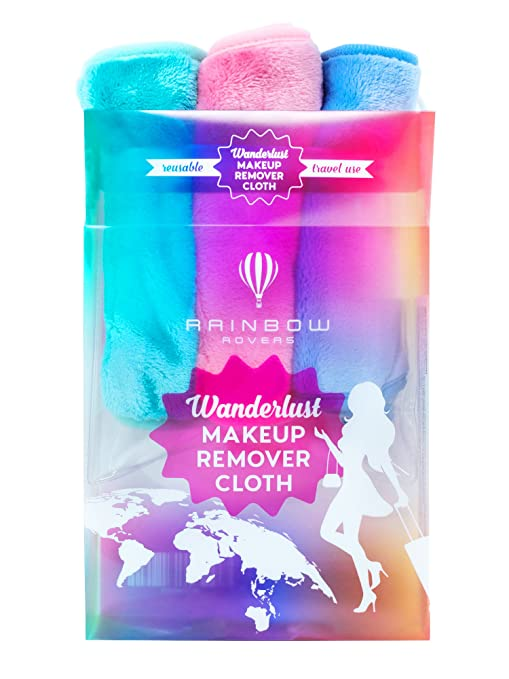 RAINBOW ROVERS Set of 3 Makeup Remover Cloths   Reusable & Ultra-fine Makeup Wipes   Suitable for All Skin Types   Removes Makeup with Water   Free Bonus Waterproof Travel Bag   Multiple Colours