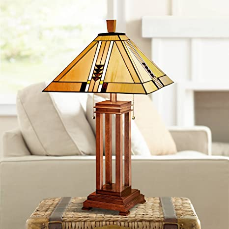 Prairie Art Deco Table Lamp Oak Wood Antique Stained Glass Shade For Living Room Family Bedroom Bedside Nightstand Office Robert Louis Tiffany Desk Lamps For Home Amazon Com