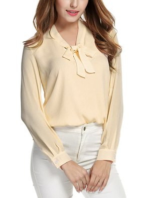 Image result for ACEVOG Womens Bow Tie Neck Long/Short Sleeve Casual Office Work Chiffon Blouse Shirts Tops
