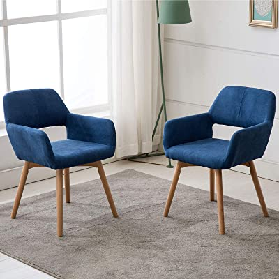 Buy Lansen Furniture Set Of 1 Modern Living Dining Room Accent Arm Chairs Club Guest With Solid Wood Legs 2 Blue Online In Indonesia B07glxtsp7