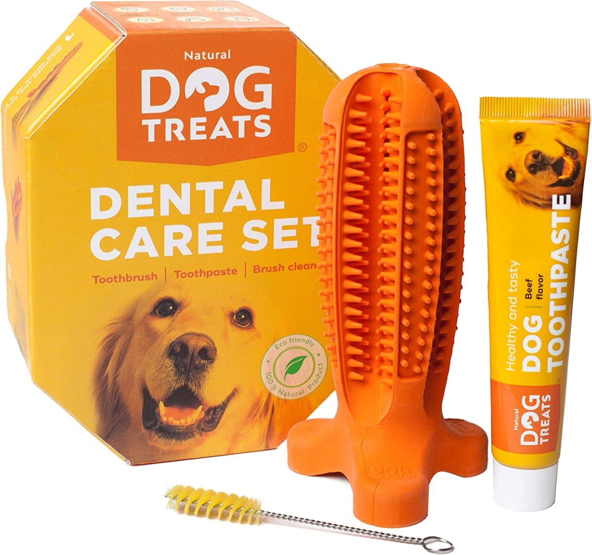 Natural Dog Treats Cepillo de Dientes y Dentífrico Set para Perros, 100% Natural Caucho Dog Brushing Stick, Juguete para Masticar