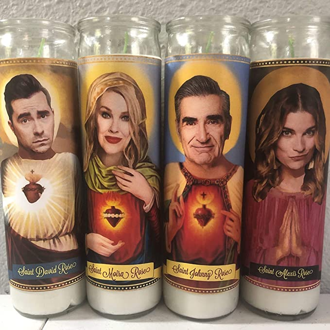Schitt's Creek Devotional Prayer Saint Candle- David, Moria, Alexis, Johnny