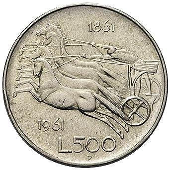 Italia 500 Lire Argentocentenario Dellunità Ditalia Bighe 11 Gr 29 Mm Anno 1961 Una Moneta Da Collezione Silver Coin