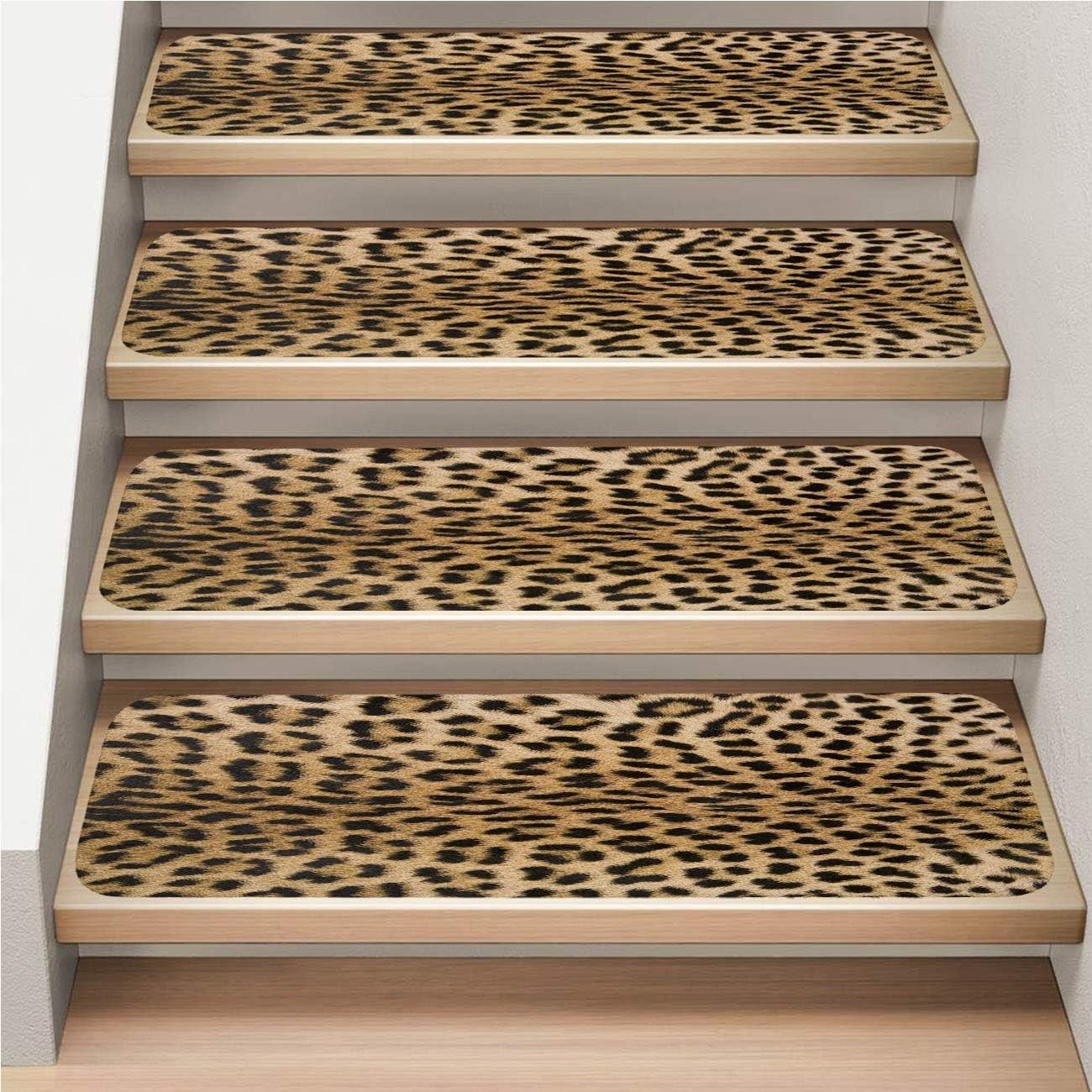 7 Pack Carpet Stair Tread Non Slip Soft Skin S Texture 2 Of   Leopard Carpet On Stairs   Zebra Print   Giraffe Print   Milliken   Patterned   Antilocarpa