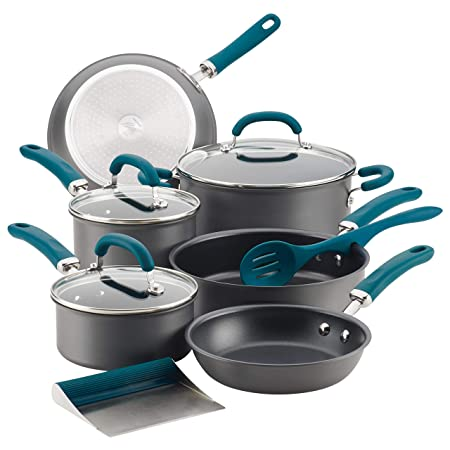 Rachael-Ray-81123-Create-Delicious-Hard-Anodized-Aluminum-Cookware-Set-11-Piece-Gray-with-Teal-Handles