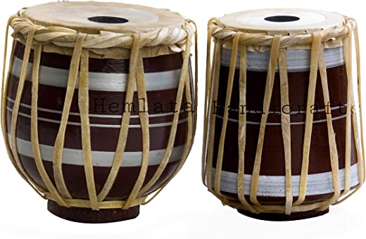 "Hemlata Handicrafts Musical Instrument Mango Wood Unique Design Baba Tabla (Tab-Set-02, Brown, 7"")"