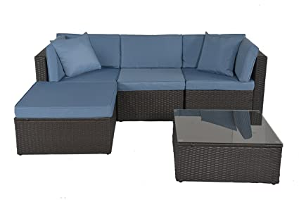 Gojooasis Outdoor Patio Pe Wicker Rattan Sofa Sectional Furniture Conversation Set With Cushion And Pillow