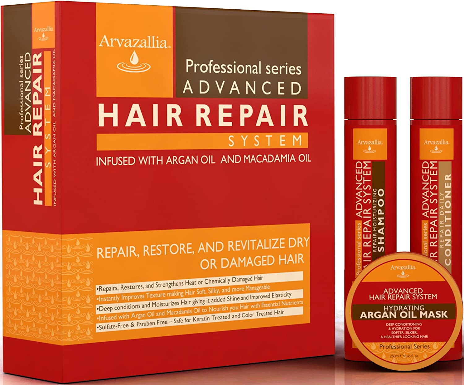 Advanced Hair Repair Shampoo and Conditioner Set with Argan Oil and Macadamia Oil by Arvazallia - Sulfate Free Shampoo, Conditioner, and Deep Conditioner Hair Mask System for Dry or Damaged Hair