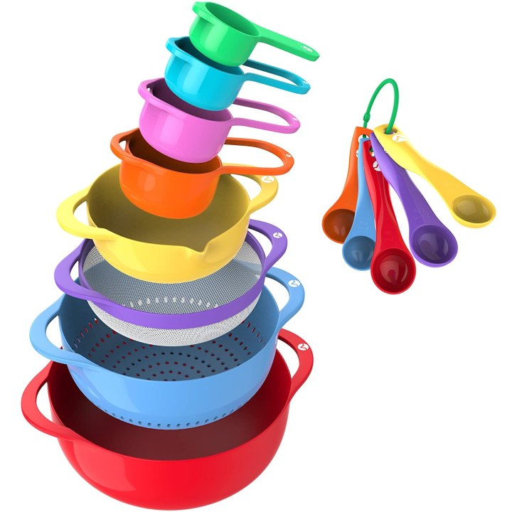 13 Piece Mixing Bowl Set - BPA Free Plastic Mixing Bowls Nested Colorful with Measuring Cups and Teaspoons