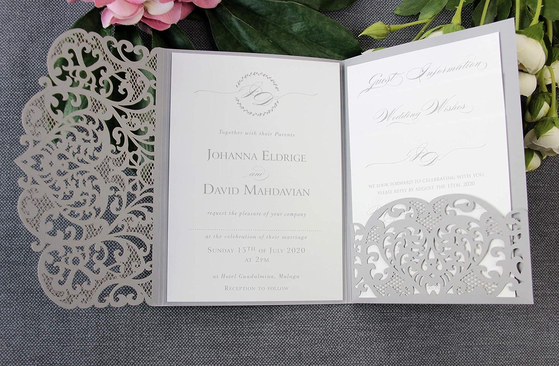 Amazon Com 50 Cards Pack Grey Wedding Invitations With Envelopes Laser Cut Diy Cards Kit Main Invitation Day Invite Evening Invite Rsvp Wedding Wishes Handmade
