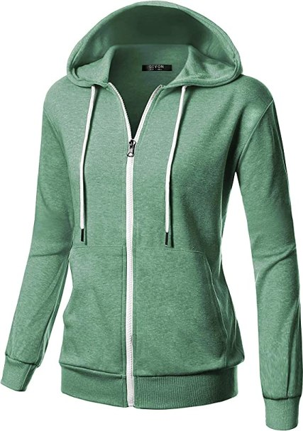 GIVON Womens Comfortable Long Sleeve Lightweight Zip-up Hoodie with Kanga Pocket(XS~4XL)