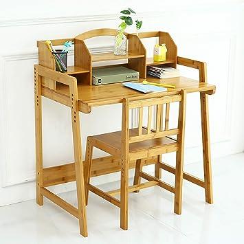 Amazon Com Unicoo Bamboo Height Adjustable Kids Desk And Chair Set Children Desk Kids Study Table And Chair Set Kids Desk Set Nature 01 Furniture Decor