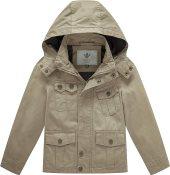 WenVen Boy's & Girl's Hoodie Outerwear Lightweight Spring Coat Khaki 4-5Y