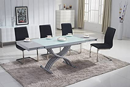 Mobilier Deco Table Basse Relevable En Verre Avec Rallonge Table Transformable