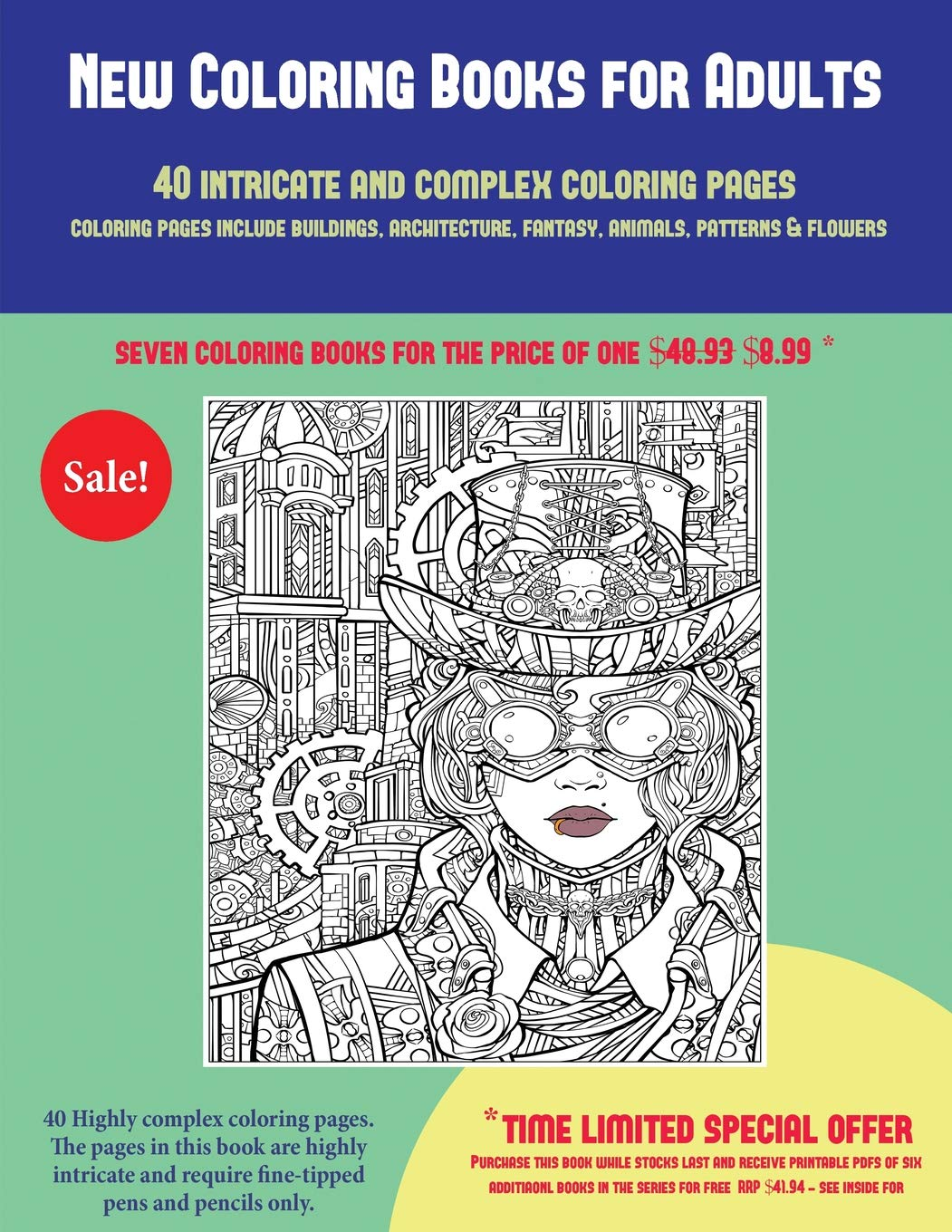 Buy New Coloring Books For Adults 40 Complex And Intricate Coloring Pages An Intricate And Complex Coloring Book That Requires Fine Tipped Pens And Fantasy Animals Patterns Flowers Book Online At