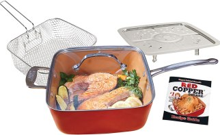 BulbHead 11198 Red Copper Square Pan 5 Piece Set by BulbHead, 10-Inch Pan, Glass Lid, Fry Basket