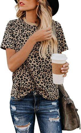 Blooming Jelly Women's Leopard Print Top Cute Short Sleeve Crew Neck Shirt Blouse(Leopard,L)