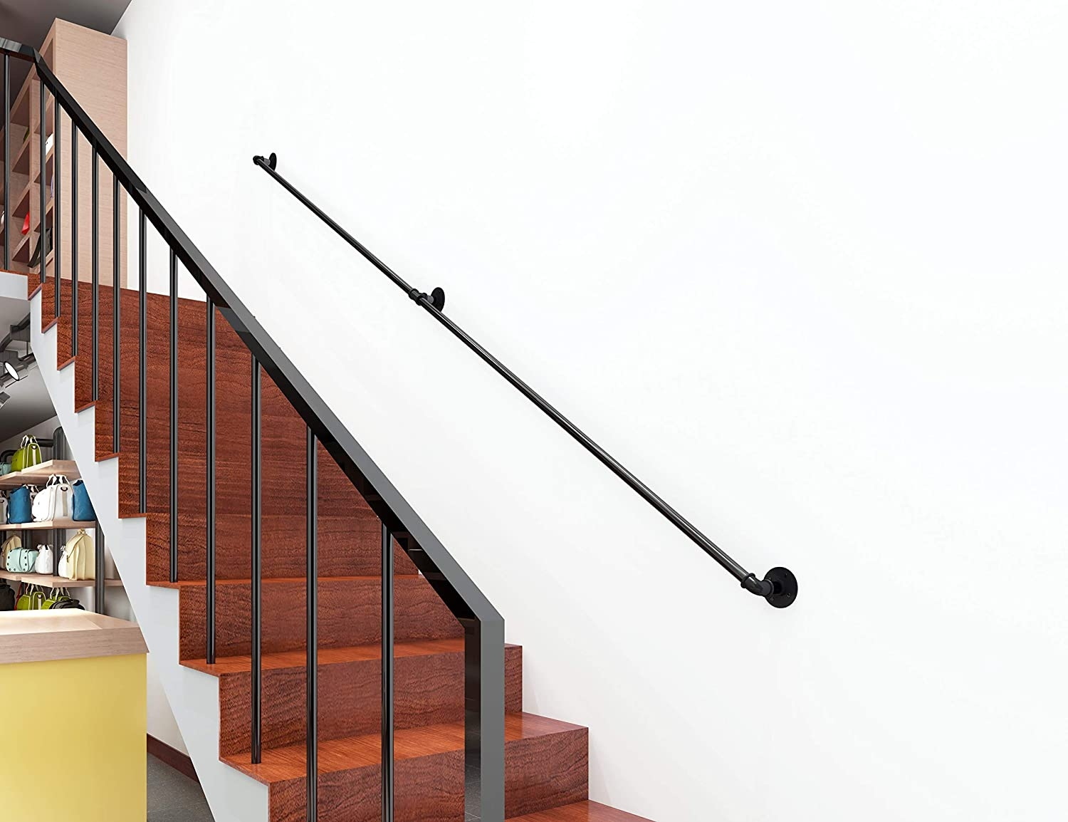 Building Supplies Diyhd 7 6Ft Black Iron Pipe Interior Wall Mount | Black Iron Pipe Handrail | Cast Iron | Horizontal Pipe | Paint Pipe | Stair Outdoor Decatur | Railing Aluminium Pipe
