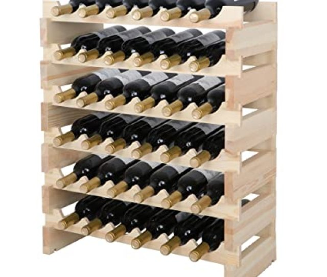 Smartxchoices 36 Bottle Stackable Modular Wine Rack Small Wine Storage Rack Free Standing Solid Natural Wood