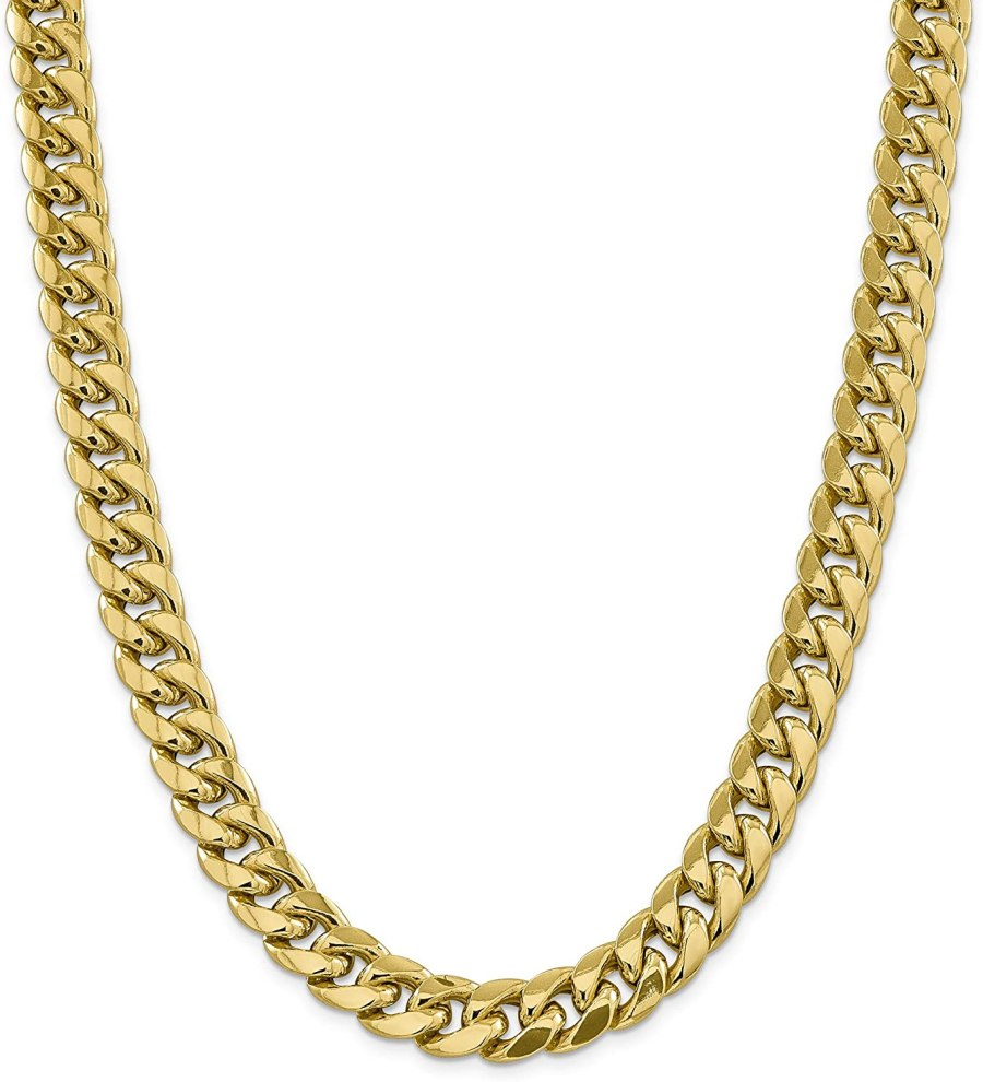 Diamond2Deal 14k Yellow Gold 12.55mm Miami Cuban Chain Necklace Lobster 30in for Men Women
