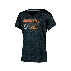 Champion NCAA Oklahoma State Cowboys Girl's Short Sleeve V-Neck T-Shirt, Large, Black Heather