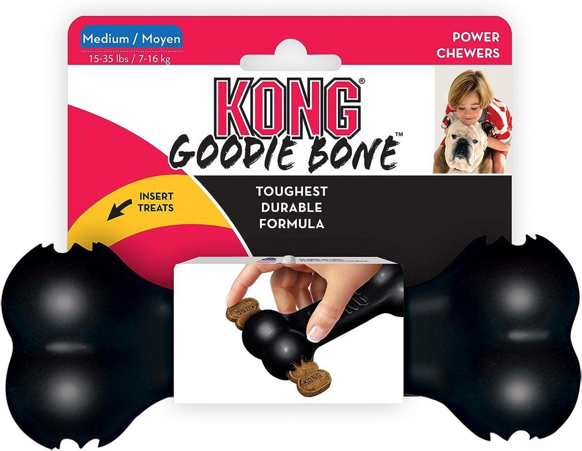 KONG - Extreme Goodie Bone™ - Hueso para Perro de Caucho, mandíbulas potentes, Negro - Raza Mediana
