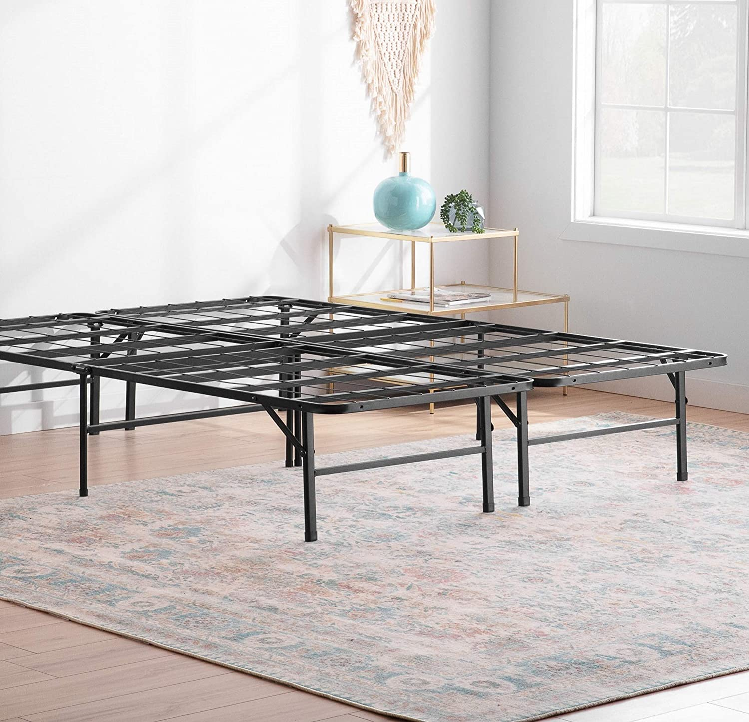Amazon Com Linenspa 14 Inch Folding Metal Platform Bed Frame 13 Inches Of Clearance Tons Of Under Bed Storage Heavy Duty Construction 5 Minute Assembly Twin Furniture Decor