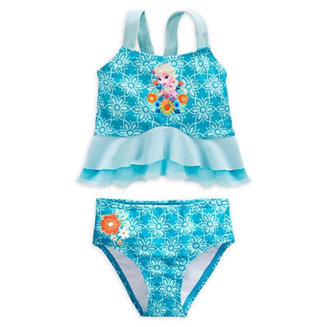 Disney Girls Blue Elsa Deluxe Swimsuit
