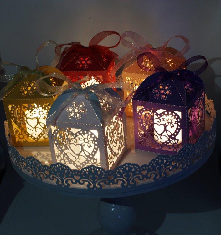 Image result for 24 Laser Cut Birds Wedding Favors Candy Gift Box/LED Tea Light Candle Holder